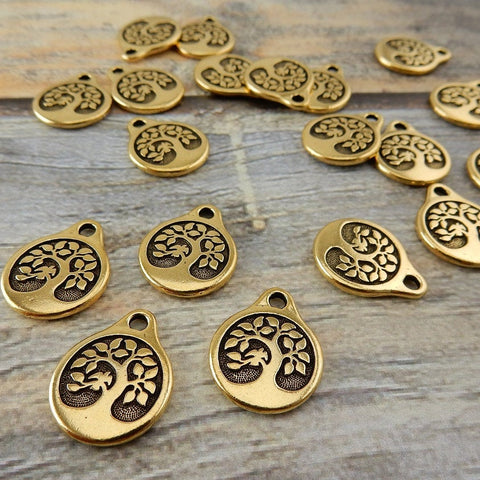TierraCast BIRD in a Tree Drops, Antique Gold, 19.5mm Charms, Tree of Life Pendants, Yoga Wrap Charms, Double Sided