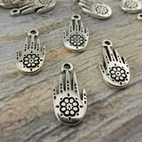 TierraCast Henna Hand, Antique Silver Henna Hand Drop Charms, Tribal Hand Charm, Tierra Cast Pewter, Metal Charms,