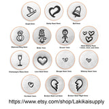 ImpressArt Love and Wedding Metal Stamps, Metal Design Stamps, Choose Whimsy Heart Stamp, Diamond Ring, Bride, Groom, Angel, Bell, and More