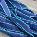 Indigo Wave Silk Ribbon, Hand Dyed Crinkle Silk Strings, Jewelry Making Ribbon