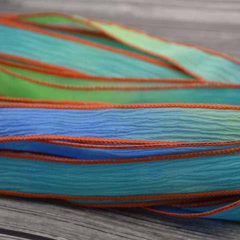 Koi Pond Silk Ribbons, Crinkle Silk, Blue Green Strings, JamnGlass Ribbon