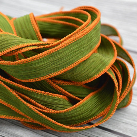 Olive Silk Ribbons, Qty 5,  Hand Dyed Silk Strings, Crinkle Silk Ribbons, Green Ribbons, Jewelry Stringing Supplies Silk Wrap Bracelets