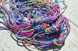 EYE CANDY Silk Cords Hand Dyed Hand Sewn Strings, Qty 1 to 25 Cords 2-3mm Jewelry Making Craft Cord, Blue, Pink, Peach, Green Yellow, Purple