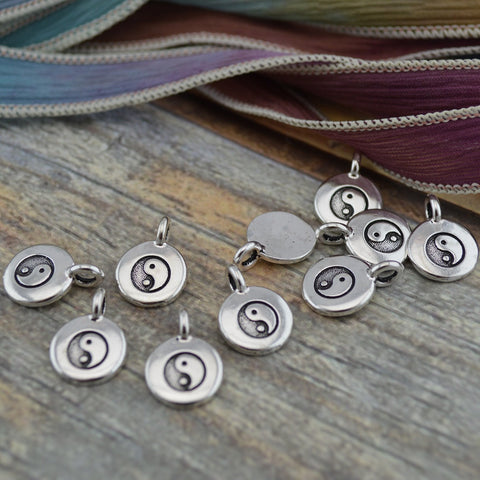 Yin Yang Charms, Antique Silver, TierraCast, Tiny Ying Yang Charms, Drops, Qty 4 to 20 Yoga Meditaton Wrap Bracelet Charms