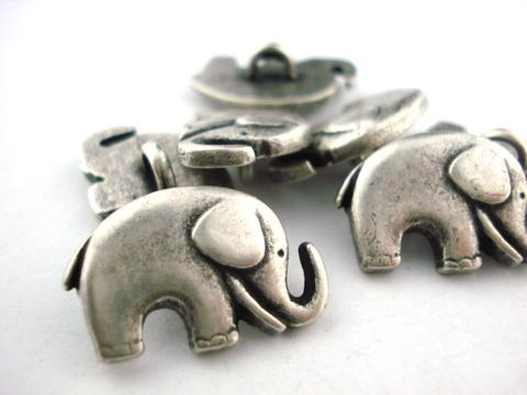 Good Luck Elephant Buttons in Antique Silver