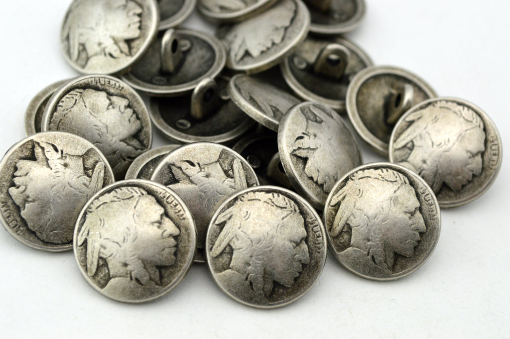 Indian Head Buttons and Antique Silver! Reproduction of Indian Head Nickels