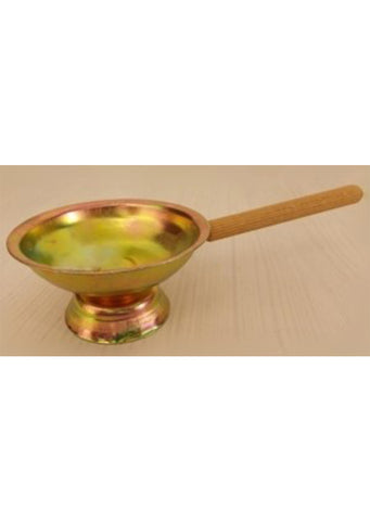 Metal incense burner with wooden handle