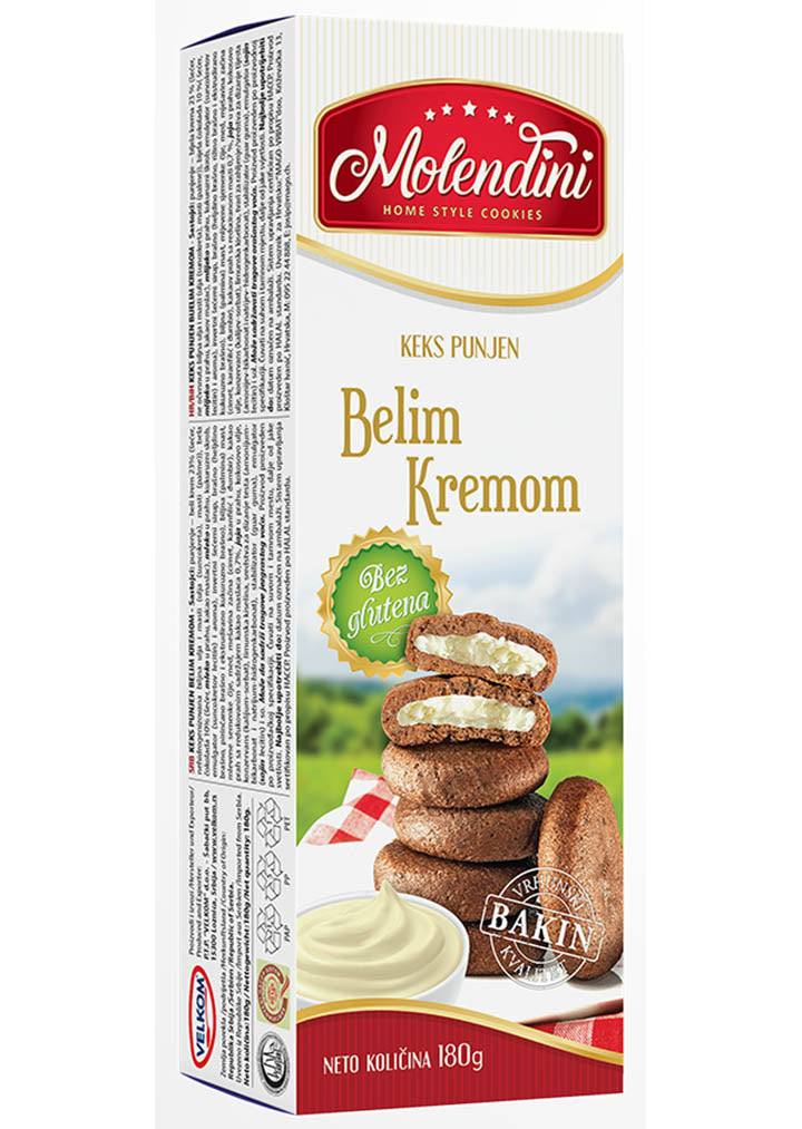Molendini - GLUTEN FREE cookies with white cream 180g