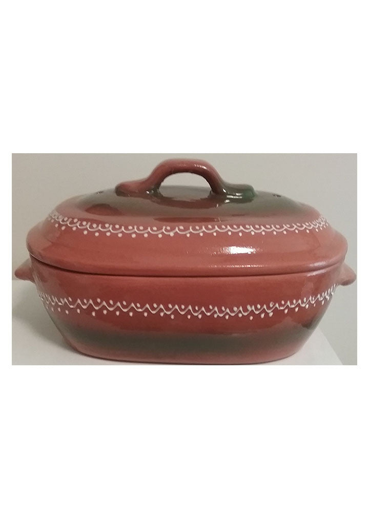 Glazed cooker with lid 34x24cm