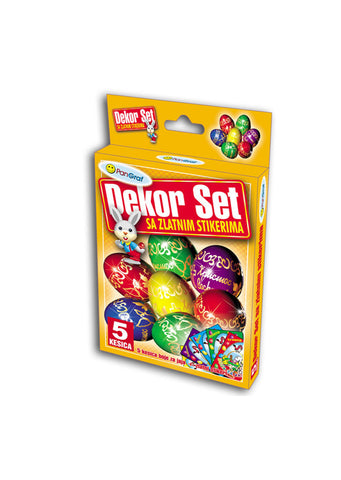 Easter - Decorative set with gold stickers - 5 colours