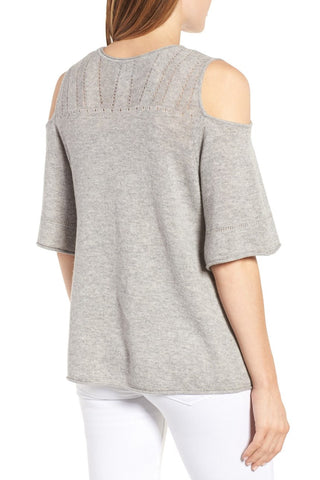 Isley Cold Shoulder Sweater - Heather Grey