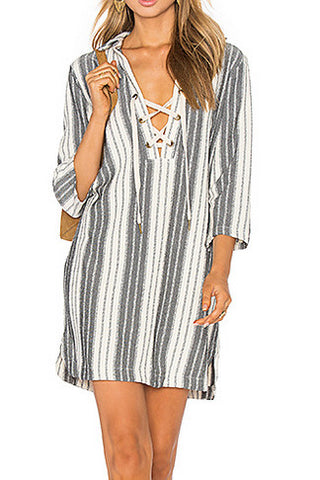 Maven West Lace Up Dress - Grey Stripe - Poppy  - 1