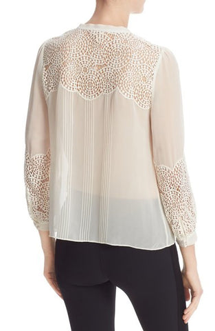 Lace Trim Silk Chiffon Top - Chalk