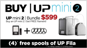 (4) FREE spools of UP filament with the purchase of an UP Mini 2 at MakerTree 3D