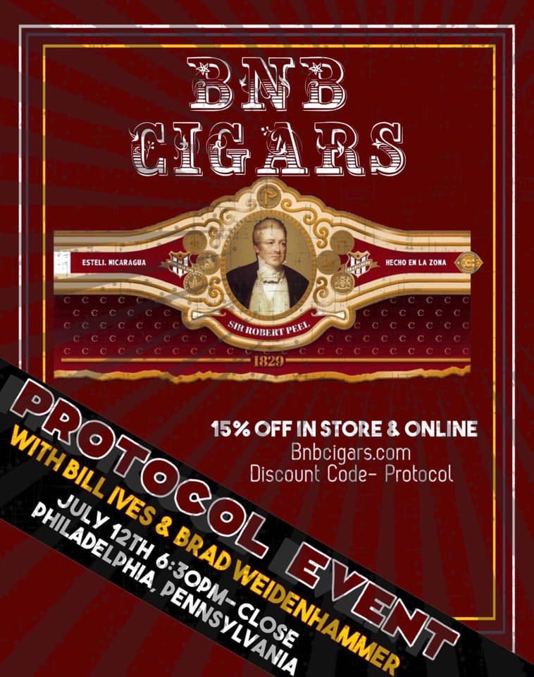 Protocol Cigars Sir Robert Peel Launch July 12th 6:30-close