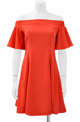 Orange Off-Shoulder Flare Dress - Heiress Gems