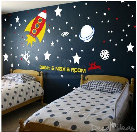 Outer space solar system wall decals kids wall sticker