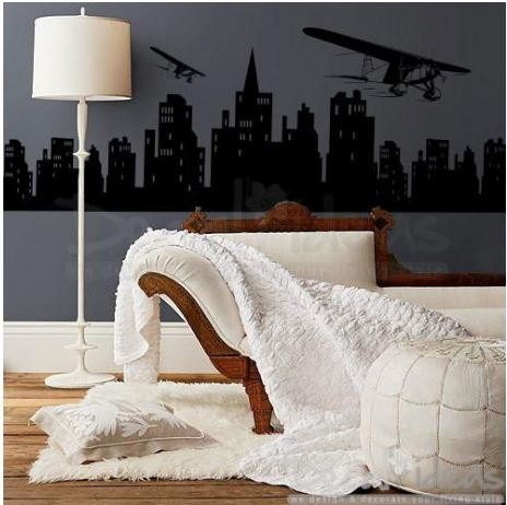 Airplane Decal Over City skyline Silhouette Modern wall decals