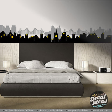 City Skyline City Buildings Vinyl Wall Decal Sticker - P-50074-D
