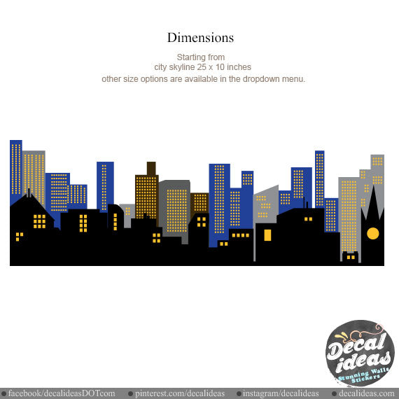 City Skyline Printed Wall Decal for Boys P-50038-D - Decalideas Wall Decals