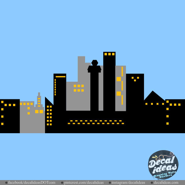 City skyline wall decal for Boys Room Decals- City Scape D-50072-D - Decalideas Wall Decals