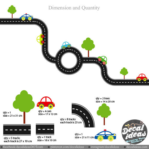 Car Track Wall Decals 004-wd - Printed