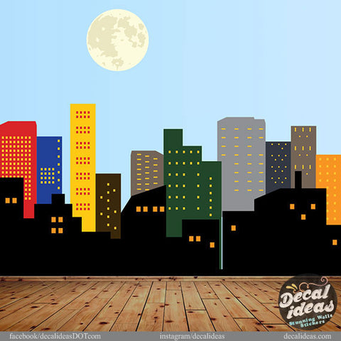 City Skyline Wall Decal Printed Wall Decal Sticker