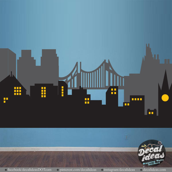 City Skyline Wall Decal - City Wall Decal - City Skyline Sticker -  DI1402 - Decalideas Wall Decals