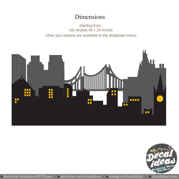 City Skyline Wall Decal - City Wall Decal - City Skyline Sticker -  DI1402