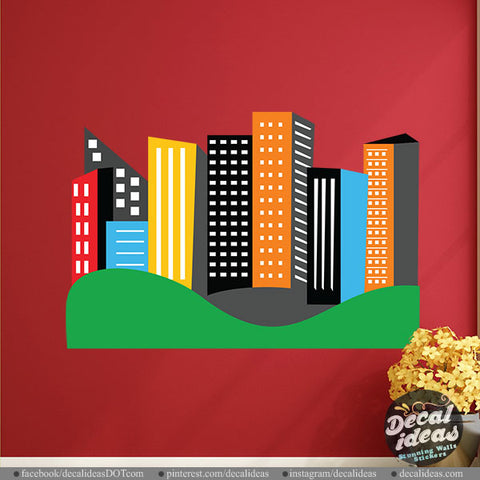 Printed City Skyline Vinyl Decal Kids Wall Decal P-5005-D