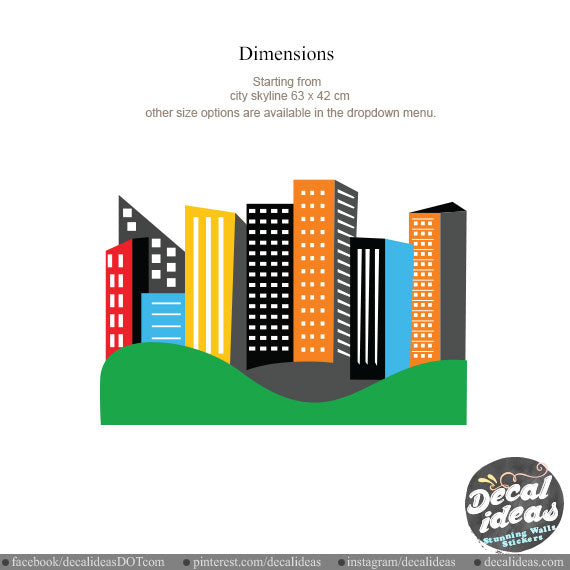 Printed City Skyline Vinyl Decal Kids Wall Decal P-5005-D - Decalideas Wall Decals