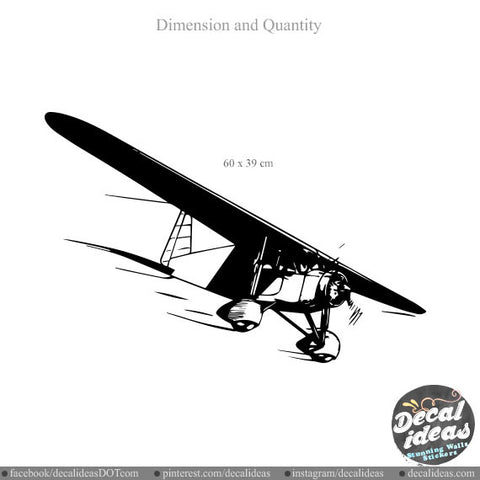 Biplane Aeroplane Wall Decals 007-wd - Vinyl Decal