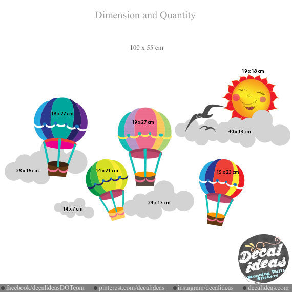 Hot Air Balloons Wall Decals 009-wd - Printed Decals
