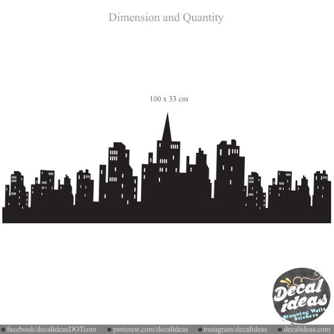 City Skyline Wall Decal 010-wd - Vinyl Decal