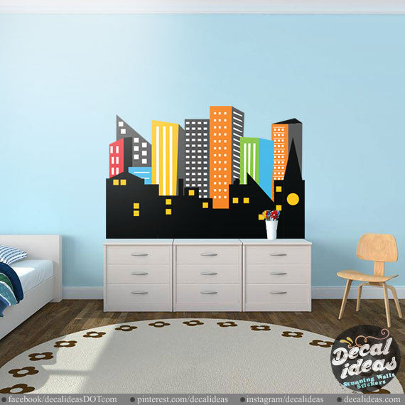 Superhero City Skyline wall Decal - printed decal