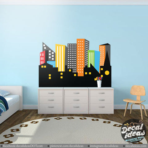 City Skyline wall Decal - printed decal P-50047-D