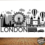 London Skyline Wall Decal | Big ban wall sticker | London wall decal UK for home decor | City Silhouette Britain England London Scape P-50100-D - Decalideas Wall Decals