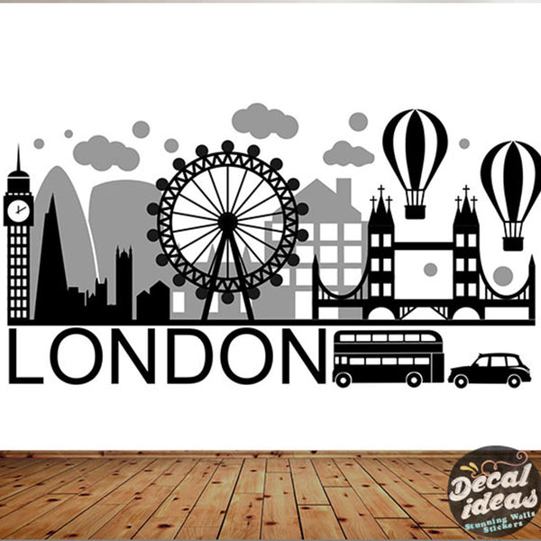 London Skyline Wall Decal | Big ban wall sticker | London wall decal UK for home decor | City Silhouette Britain England London Scape