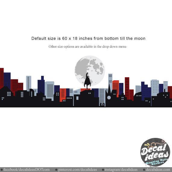 City Skyline Wall Decal - Printed Moon City Skyline Wall Decal Sticker - BM1020 - Decalideas Wall Decals