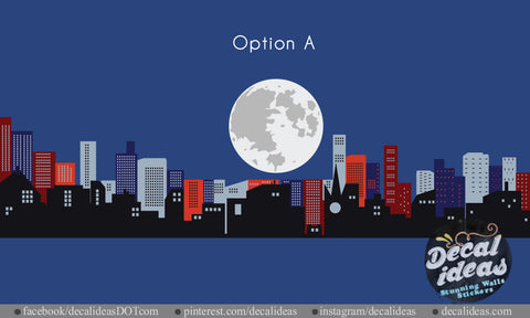 City Skyline Wall Decal - Printed Moon City Skyline Wall Decal Sticker - BM1020