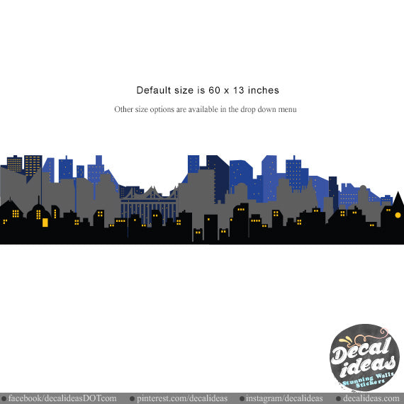 City Skyline Wall Decal -  Super Skyline Wall Decal Sticker - BM1030 - Decalideas Wall Decals