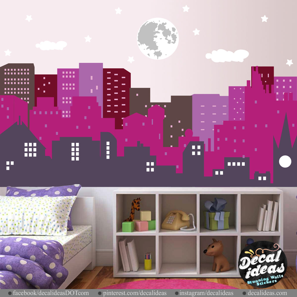 Nursery Wall Decal Sticker - City Skyline Wall Decal - Girl Room Wall Decal - Printed City Skyline Wall Decal Sticker - BM1039 - Decalideas Wall Decals