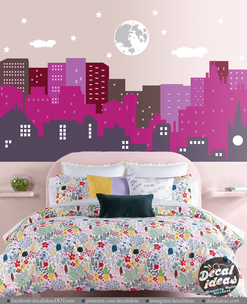 Nursery Wall Decal Sticker - City Skyline Wall Decal - Girl ...