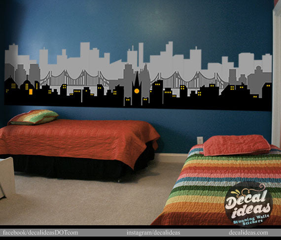 City Skyline Wall Decal, Skyline wall Decal, City wall Decal, Boys Room Printed wall decal D-500116-D