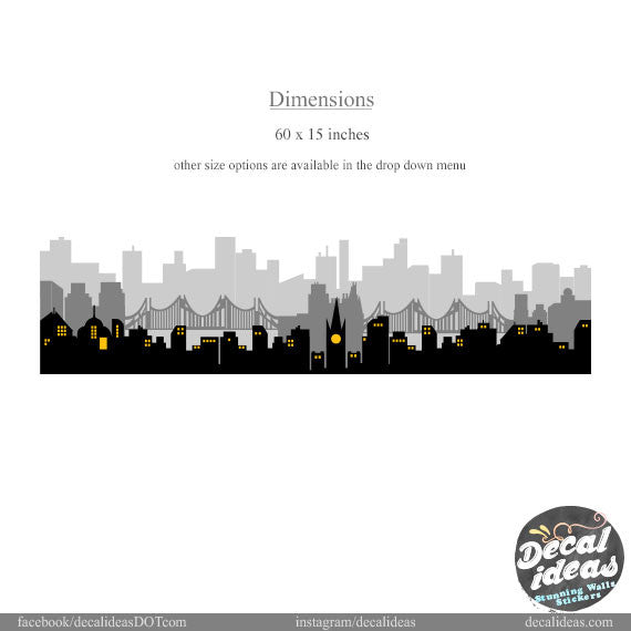 City Skyline Wall Decal, Skyline wall Decal, City wall Decal, Boys Room Printed wall decal D-500116-D - Decalideas Wall Decals