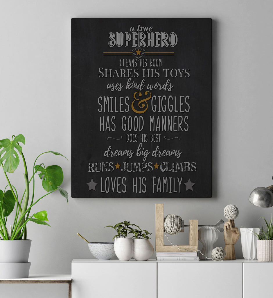 Superhero boys Room Quote Art Print