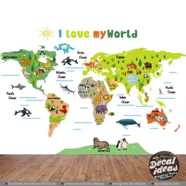 World Map Wall Sticker for Kids - My World Wall Decal - World Map on world map wall set, world map of the wall, india wall sticker, world vinyl art decals, world wall decal, world map wall graphics, world map on wall, world wall sculpture, calendar wall sticker, world maps for your wall, world map wall vinyl, world map removable sticker, world map wall paint, world watch urban outfitters, compass wall sticker, world map wall canvas, world map wall covering, world map wall decoration, paris eiffel tower wall sticker, world map wall mural,