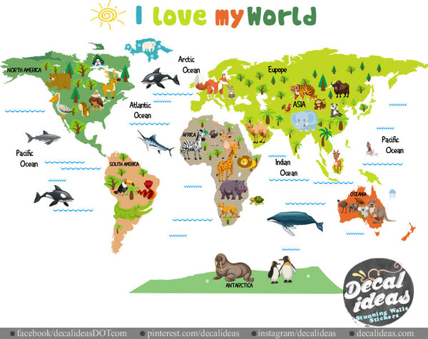 World Map Wall Sticker For Kids Love My World Wall Decal World