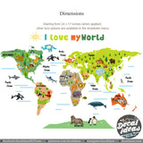 World Map Wall Sticker for Kids - Love My World Wall Decal - World Map Animal Wall Decal Stickers -  Printed Wall Decal ETS5000