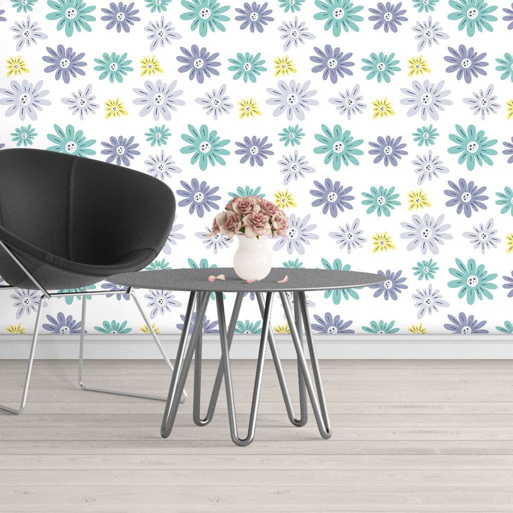 Removable Floral Wallpaper Peel And Stick, Flower Wallpaper, Floral Peel And Stick Wallpaper, Floral Wallpaper For Nursery Wall Decal Baby - Decalideas Wall Decals